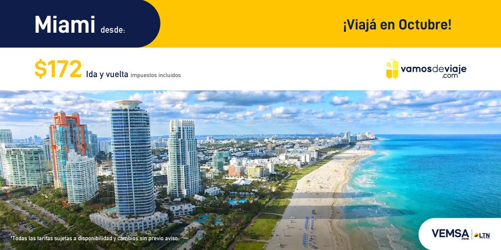 ¡Aprovecha estas increíbles tarifas para vuelos en Octubre 2020! Cuídate hoy para que puedas viajar mañana. Miami desde $172. #YoViajoDespues  https://t.co/oywG0BpJOR https://t.co/6qmXNtVaCW