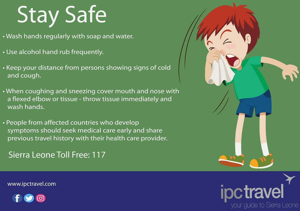 Protect yourself and others from COVID-19 • Be safe by following public health advice • Be smart by being informed from accurate sources • Be kind and support one another to fight #Covid_19  #ipctravel #yourguidetosierraleone #yourguidetotheworld #sierraleone #SaloneTwitter https://t.co/KA3OUBJStB