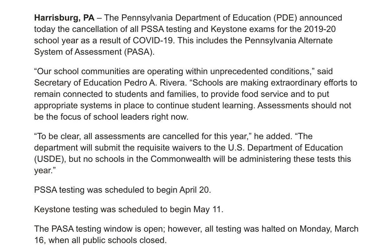 Here's the release from the Pa. department of education: #phled