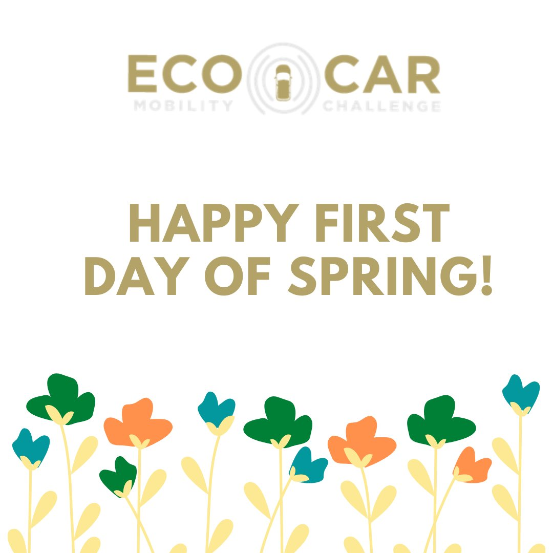 Our ecoCAR team wants to wish everyone a happy first day of Spring! Despite of everything going on we hope everyone is staying safe. Please take care of yourselves, practice social distancing and remember to wash your hands🍃 🌿🌼 https://t.co/PPaZZQfyIN