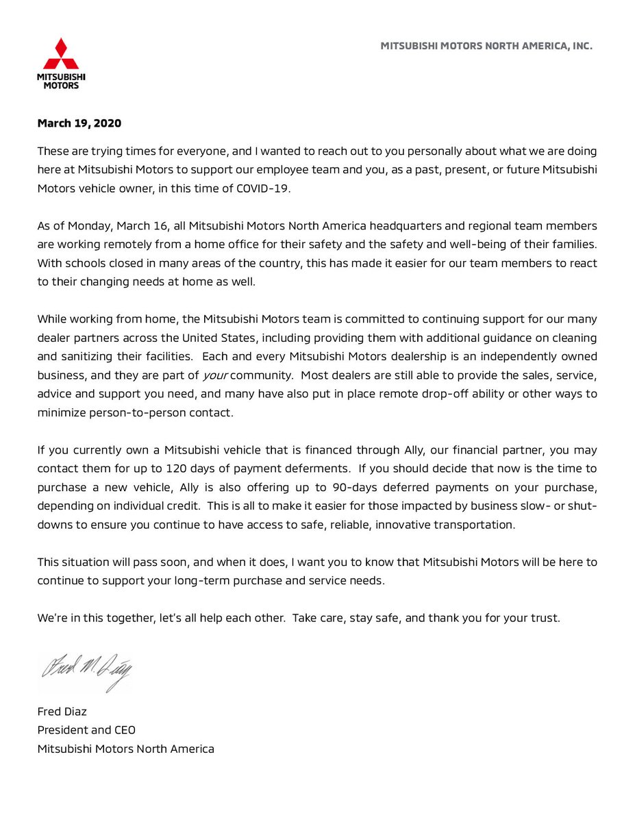 To our Mitsubishi family and friends, a note from our President and CEO, Fred Diaz. #COVID19