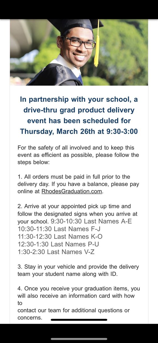 ATTENTION SENIORS important info on picking up graduation products next Thursday! Please read! https://t.co/HuxeS9nQWq