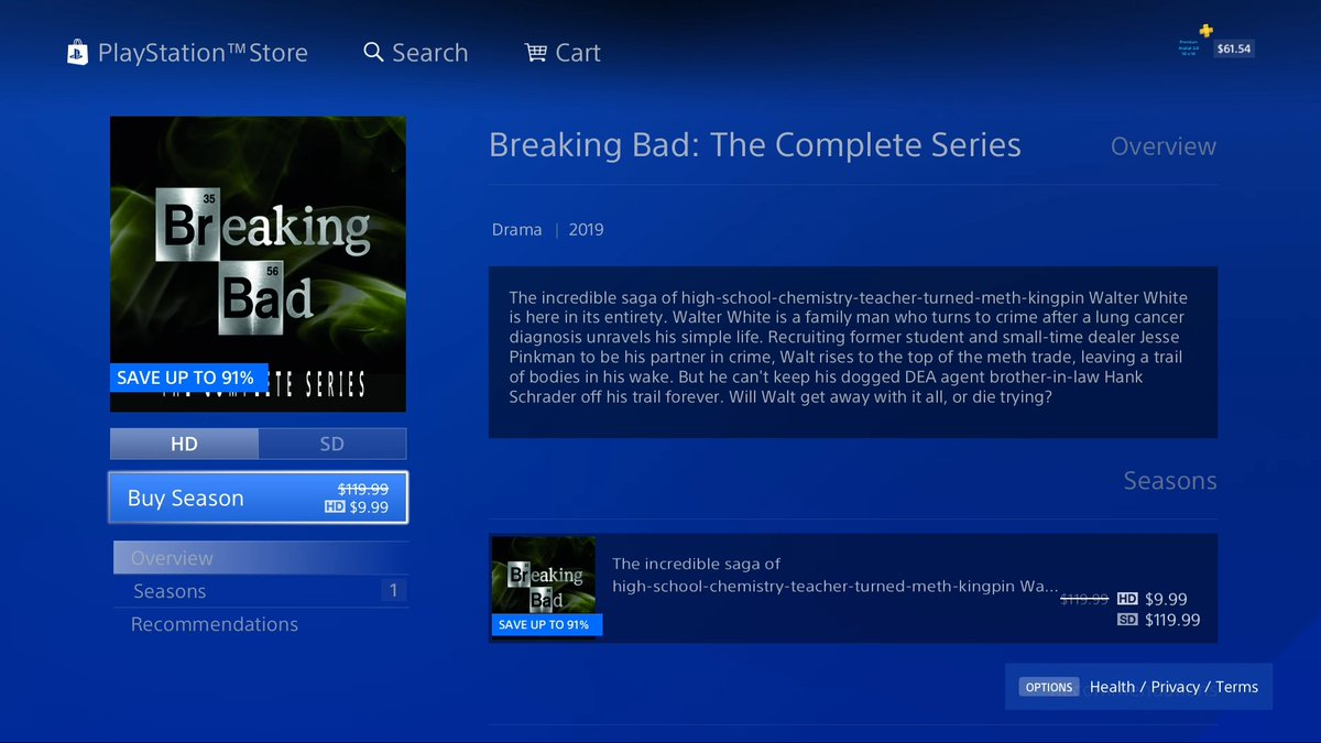 Wario64 On Twitter Breaking Bad The Complete Series Is 9 99 On Us Psn