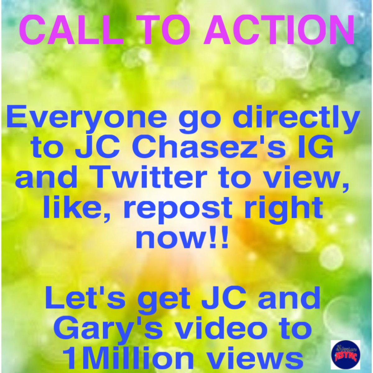 CALL TO ACTION!  Everyone go directly to JC Chasez Instagram and Twitter accounts to view, like, repost right now!!  Let's get their video to 1Million views and trending  #chasezallday #backforgood #wewantyouback #croonersessions #jcchasez #nsync #garybarlow #missionNSYNC