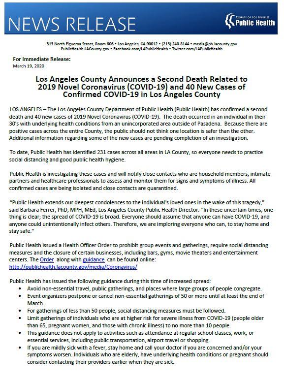 La Public Health On Twitter Pressrelease Los Angeles County