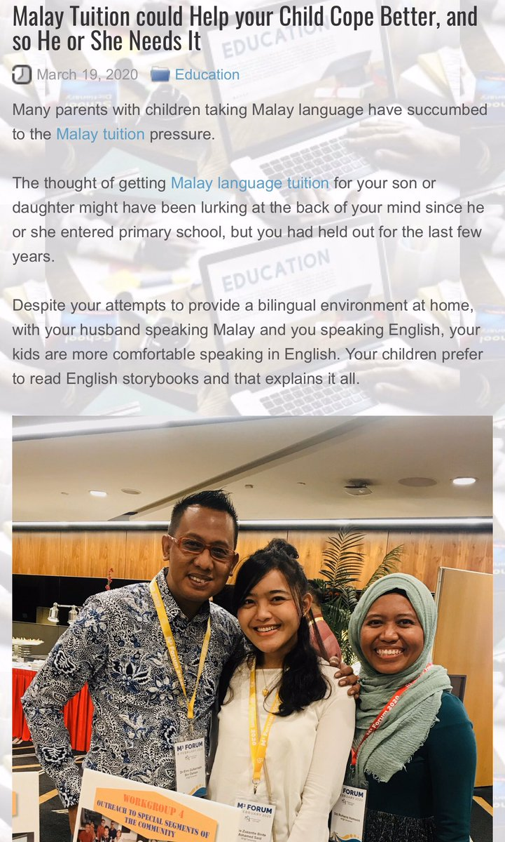 Malay Tuition could Help your Child Cope Better, and so He or She Needs It. Many parents with children taking Malay language have succumbed to the Malay tuition pressure. Read more http://iucommunity.info/2020/03/malay-tuition-could-help-your-child-cope-better-and-so-he-or-she-needs-it/… #MalayTuition #TuitionSG pic.twitter.com/qO9GVqeNi2