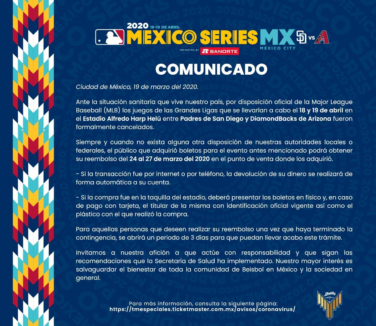 Reembolso de boletos Mexico Series 2020, MLB en México (Grandes Ligas)