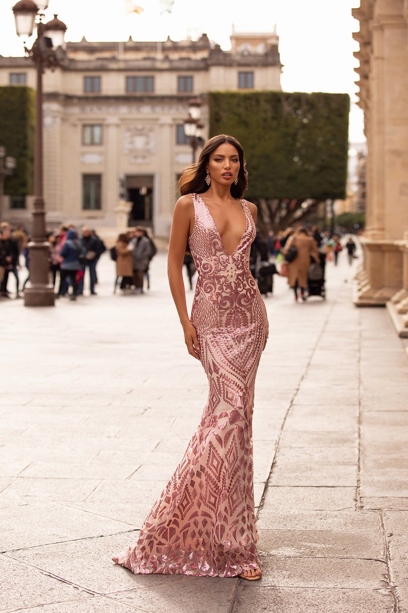Pretty & Glamorous, the Raquel Gown features a deep plunge neckline, figure hugging silhouette and train.   Shop here: https://bit.ly/397MJNk  More colours available.   #anluxe #promgown #prom #promdresses #formaldress pic.twitter.com/ZkaI9LCcTW