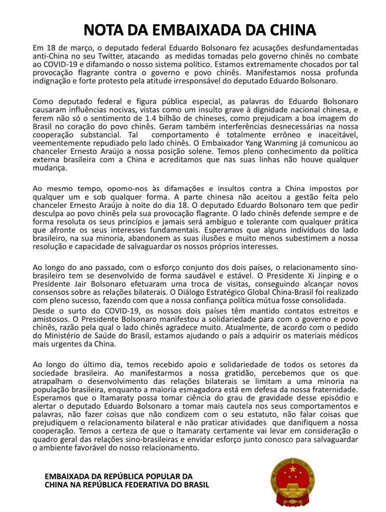 Nota da Embaixada da China em resposta a Eduardo Bolsonaro