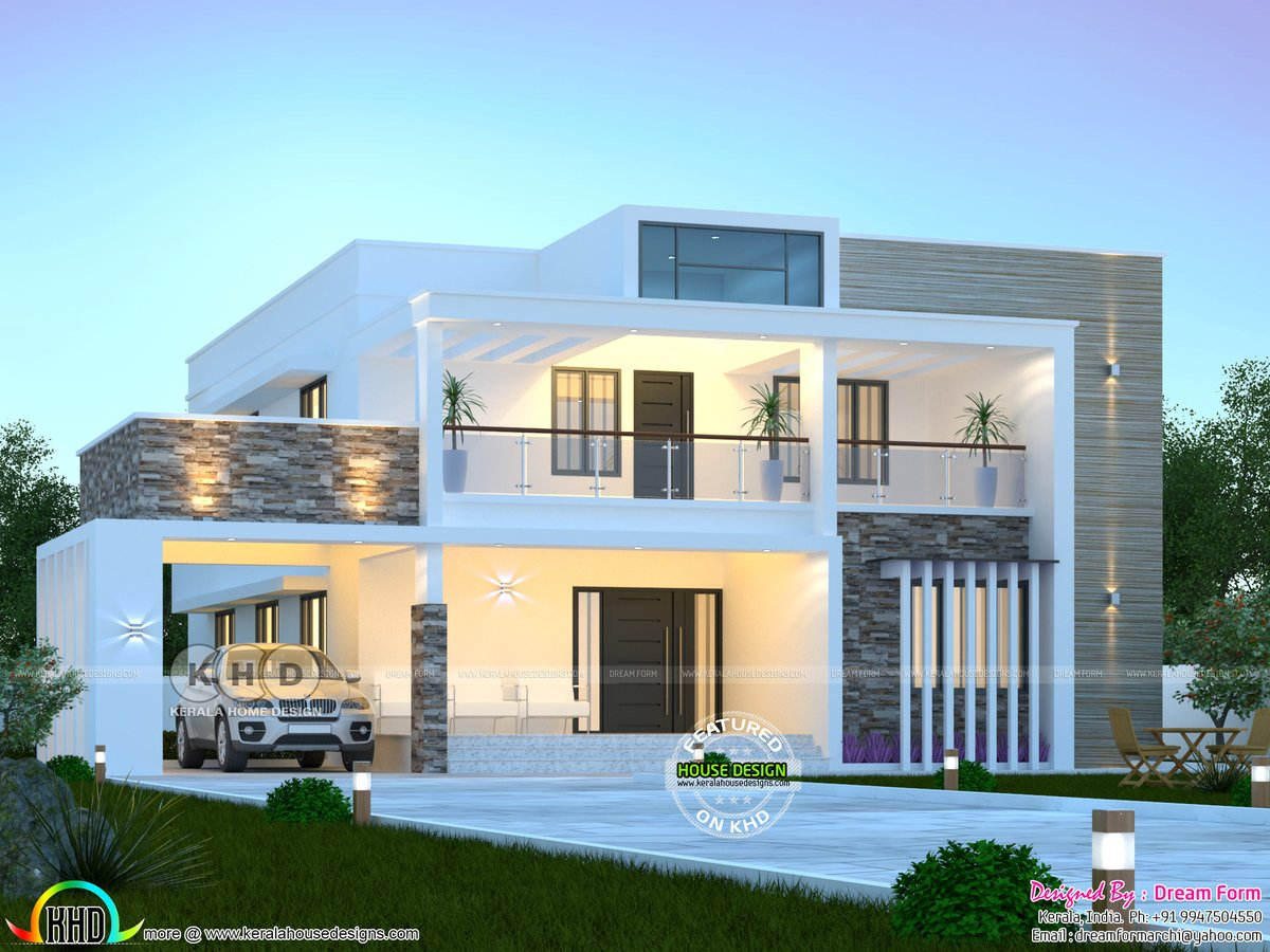 Kerala Home On Twitter Modern Flat Roof Contemporary House Https T Co Kjrftpl0f6