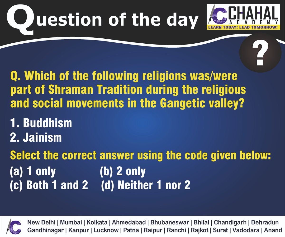 Question of the Day  Answer - C  #20thMarch2020 #Questionoftheday #UPSC2020 #IPS #IBPS #governmentexam #Currentaffairs #iasquestion #UPSCQuestion2020 #dailyquiz #coachinginstitute #iascoachingcenter #IASquestions #civilserviceexam  Visit:- http://chahalacademy.compic.twitter.com/zevrBumGTt