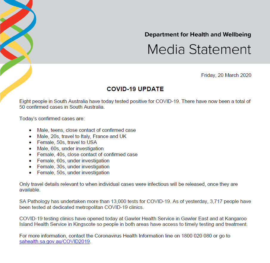 Sa Health On Twitter South Australian Covid 19 Update 20 3 20 For More Information Contact The Coronavirus Health Information Line On 1800 020 080 Or Go To Https T Co Mynzsgpayo Https T Co Rwfemefkkc