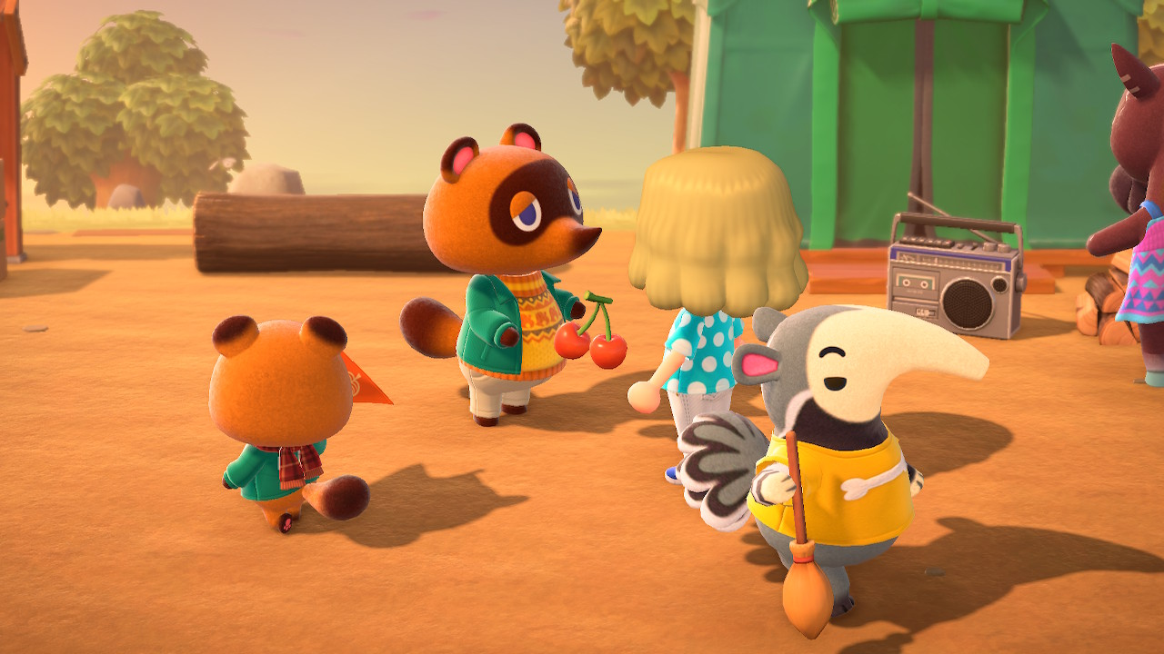 Tom Nook handing out native cherries.