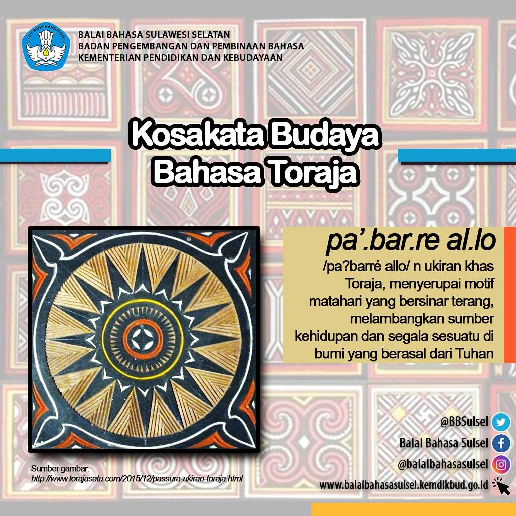 "Hai #SahabatBahasa dan #SahabatDikbud  Kosakata Budaya Bahasa Toraja kali ini adalah ""pabarre allo"". Silakan simak penjelasannya berikut ini.  . Jangan lupa ikuti kami di media sosial lainnya. #toraja  #bahasatoraja  #BahasaDaerah  #BahasaIndonesia  #literasi #tanatorajapic.twitter.com/bmw9tCaiJx"