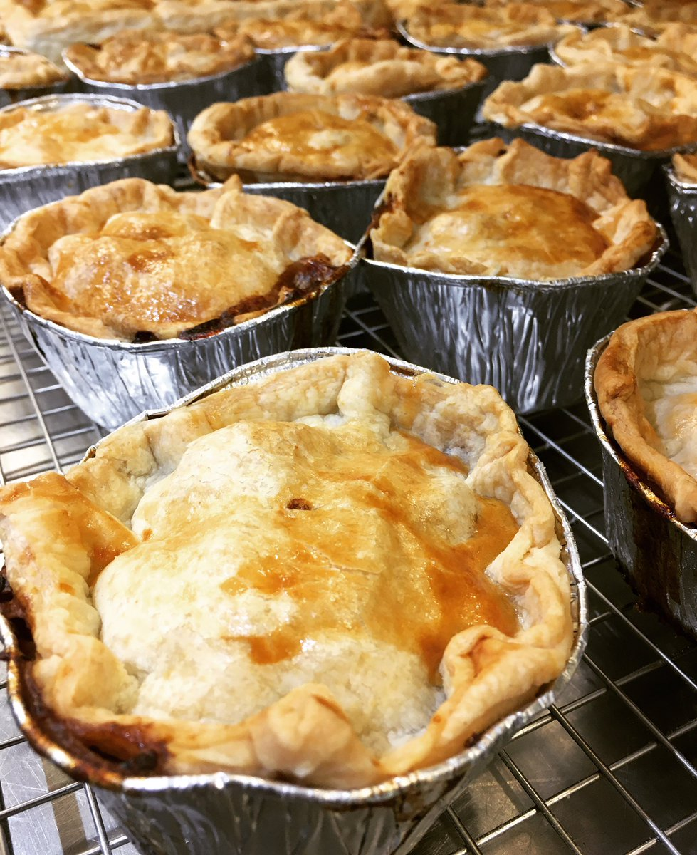 Tom's busy knocking out some pies you can grab and go, for heating at home #beefandmushroom #pie #moreinstore #grabandgo #readymeal