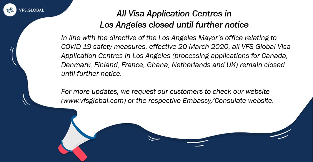 Vfs Global On Twitter An Important Update For Our Customers In Los Angeles