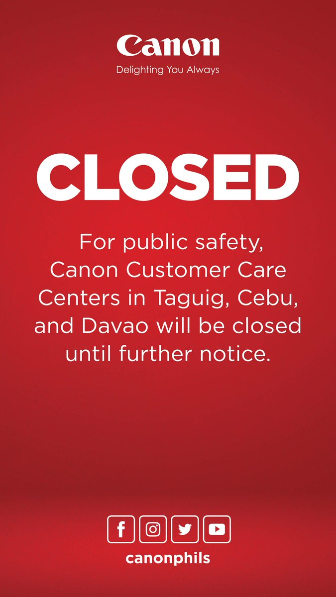 While our Customer Care Centers are closed, we still welcome inquiries. Email customer_care@canon.com.ph or contact 09175594896.  Keep safe, everyone! #COVID19PH https://t.co/zQjgg36RiK