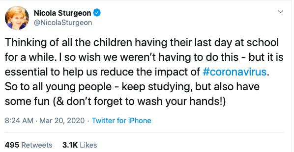 How Boris Johnson and Nicola Sturgeon have addressed the nation over the coronavirus crisis.