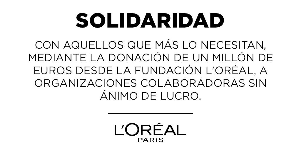 La Fundación L'Oréal ha decidido donar un millón de euros a   sus organizaciones  colaboradoras  sin ánimo de lucro, a las que también se les ofrecerá kits de higiene y desinfectantes para  sus trabajadores sociales, voluntarios y beneficiarios.