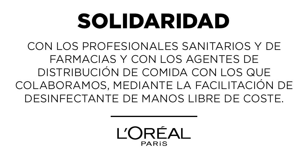 Las marcas del Grupo L'Oréal están organizando una distribución de desinfectante de manos sin coste,  para hospitales, residencias de ancianos y farmacias, así como a distribuidores de alimentación europeos.