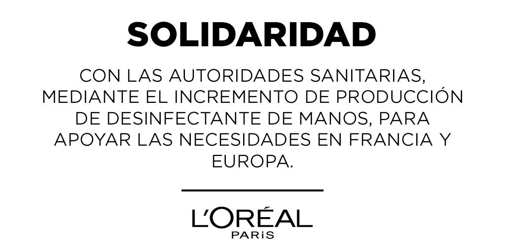 Las fábricas del Grupo L'Oréal ya han comenzado a fabricar desinfectante de manos e impulsarán su producción en  cantidades significantes para apoyar las necesidades de las autoridades  sanitarias en Francia y Europa.