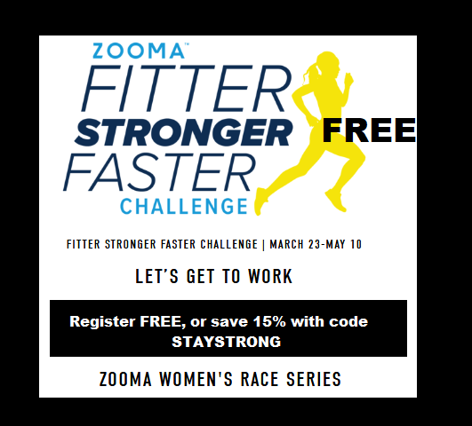 FREE @Zooma fitness challenge starts 3/23! Join 6-wk workout plan: cardio sessions, form drill session, & strength training. (Optional swag bag w/medal & jacket may be purchased.) SIGN UP:  https:// zoomarun.com/zooma-fitter-s tronger-faster-challenge   …  -- #zoomaambassador #runzooma #racezooma  #staystrong<br>http://pic.twitter.com/M0t9k6cTwl