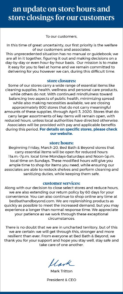 Important information about our stores: