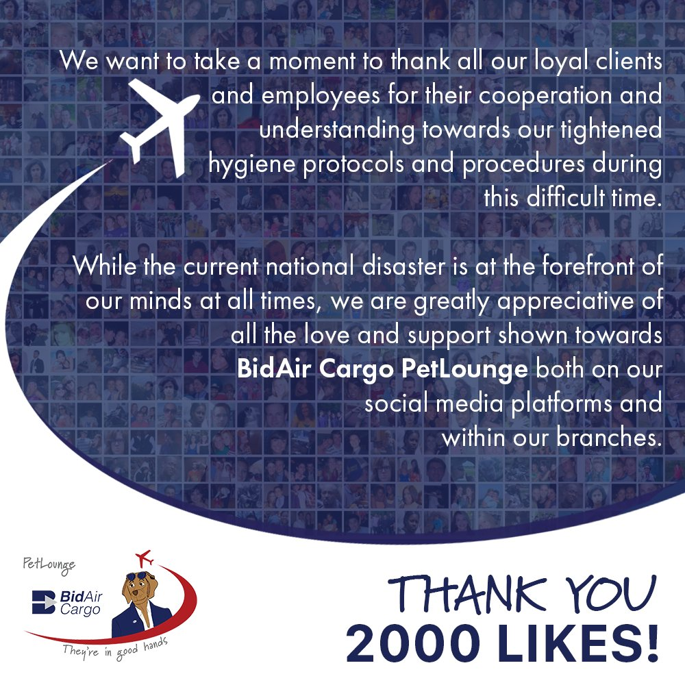 We want to take a moment to thank all our loyal clients and employees for their cooperation and understanding towards our tightened hygiene protocols and procedures during this difficult time. #PetLounge #BidAirCargo #ThankYou #AnimalTravel https://t.co/xUisFY0tSD