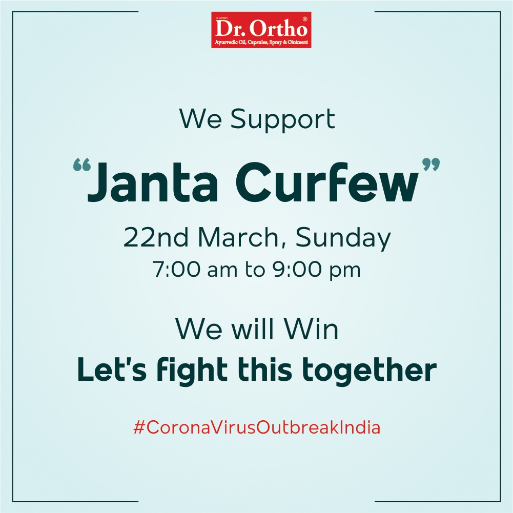 We appeal to our fellow Indians to follow the same to stay aware & safe.  #IndiaFightsCorona #CoronavirusOutbreakindia #JantaCurfew #DrOrtho https://t.co/BvAcD0N85z