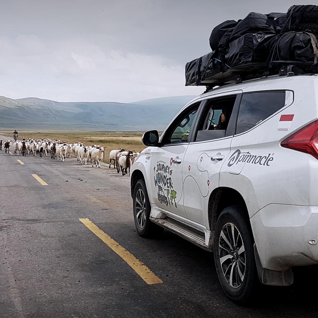Saat berada di Padang Sahara @journeyofwonder_ sempat mengalami kejadian unik lho! Mobilnya terhalang sekumpulan hewan di jalan raya sehingga harus menepi sejenak. Ada yang tau ini di negara mana?  #MitsubishiMotors #JourneyOfWonder