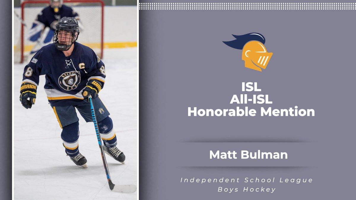 Congratulations to Matt Bulman on earning All-ISL Honorable Mention! #RollKnights