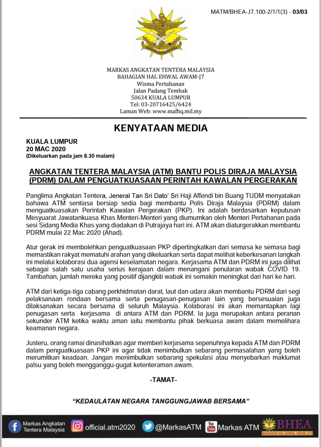 Alifah Zainuddin On Twitter The Malaysian Armed Forces Has Announced That All Three Branches Army Navy Air Force Will Give A Helping Hand To Police Forces Effective This Sunday Https T Co Uejgvsatnh