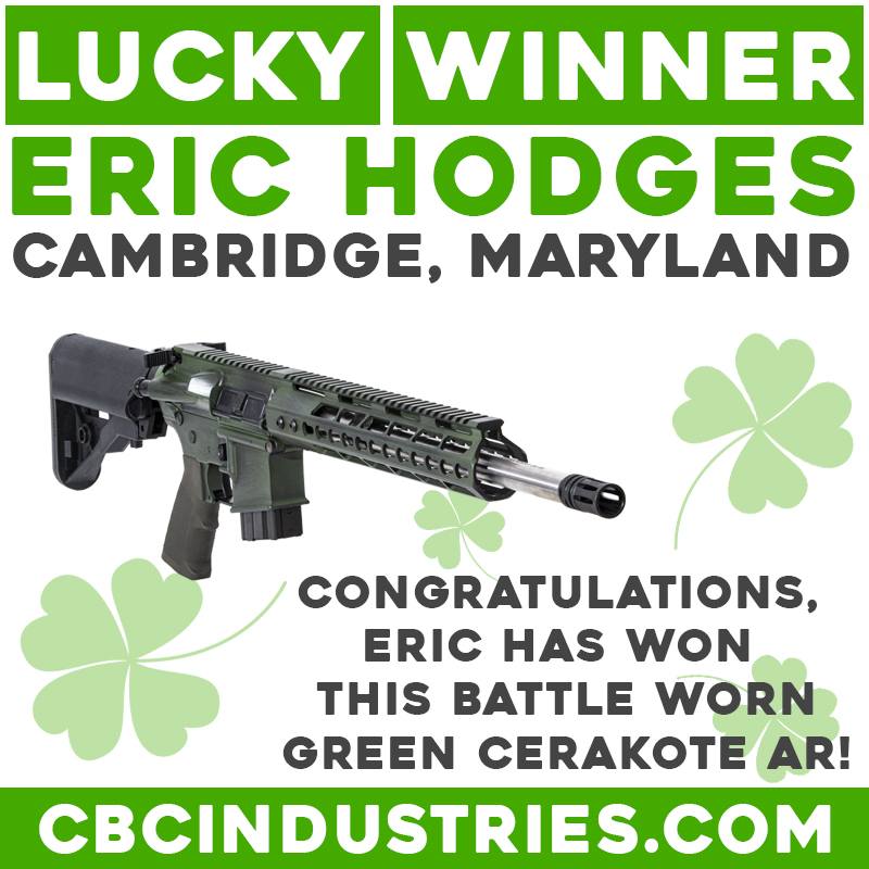CONGRATULATIONS!!! Eric Hodges of Cambridge, MD has won our Battle Worn Green Cerakote AR! Eric, please PM our page for instructions on claiming your prize!! We will start a new giveaway next week!! Thank you to everyone who entered, we love our friends, fans, and followers! https://t.co/FNewEElJUY