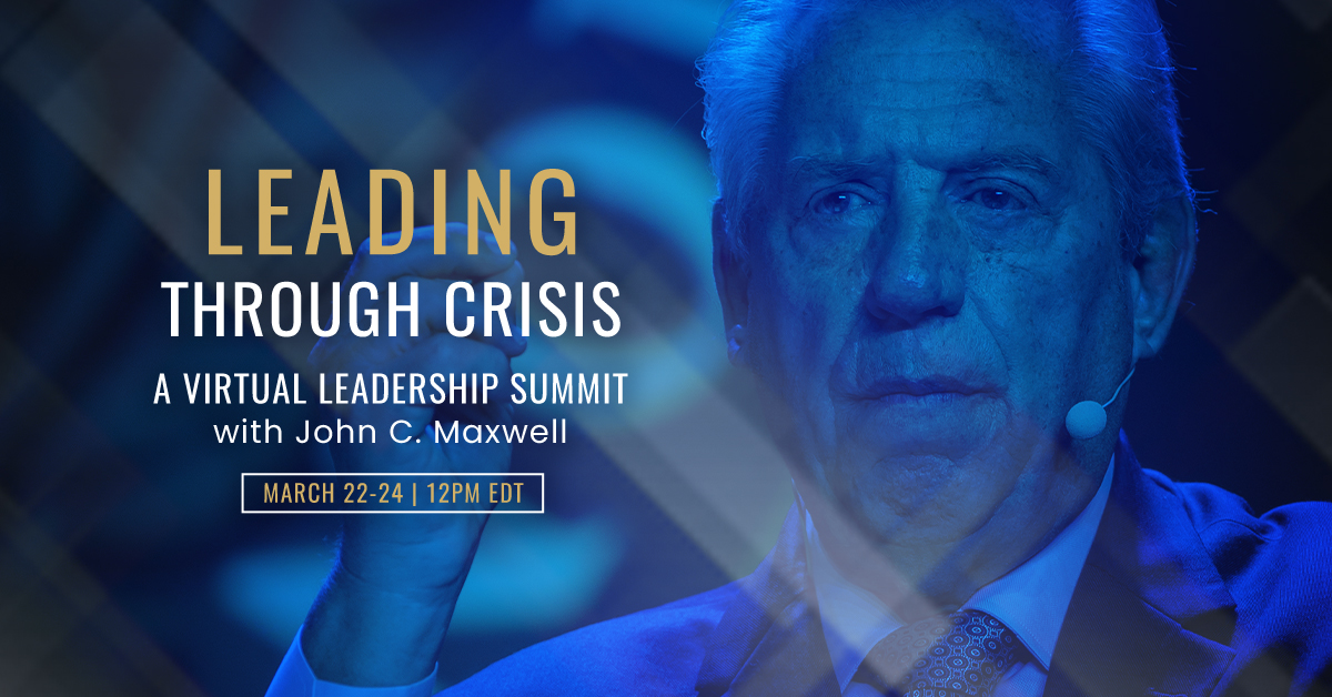 Our 3-day virtual leadership summit, Leading Through Crisis, begins this Sunday at noon EST. Join @JohnCMaxwell as he shares what he's learning & experiencing as he leads during this global crisis: https://t.co/46MCWt2l9O https://t.co/5nn9KbWzMi