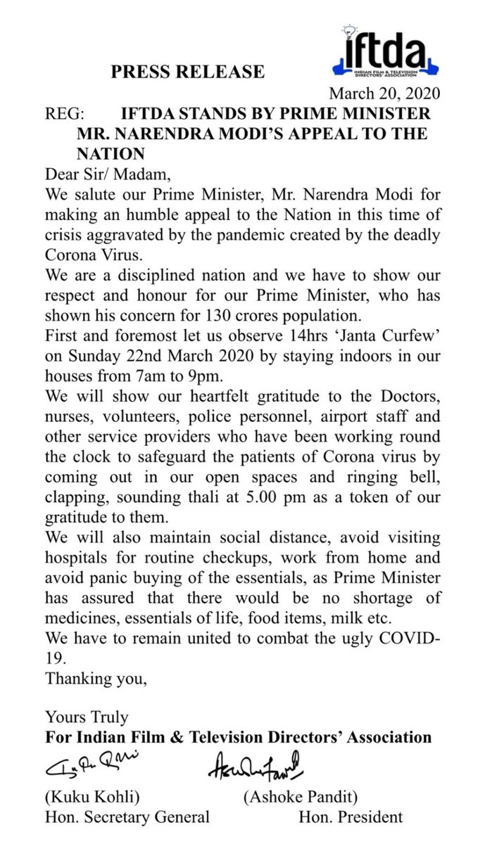 IFTDA stands by Prime Minister @narendramodi appeal to the nation. #covidindia #IndiaFightsCorona #COVID2019