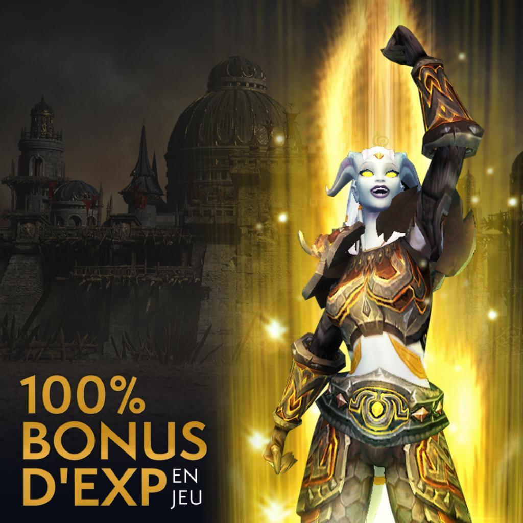 Profitez d'un bonus de 100% d'expérience supplémentaire sur World of Warcraft !  📅 Du 20 mars au 20 avril ⬆️ S'ajoute aux bonus des objets héritage 🧙 Dispo pour tous les joueurs sur BFA, Legion & l'édition découverte  Plus d'infos : https://blizz.ly/2U6WqaJ
