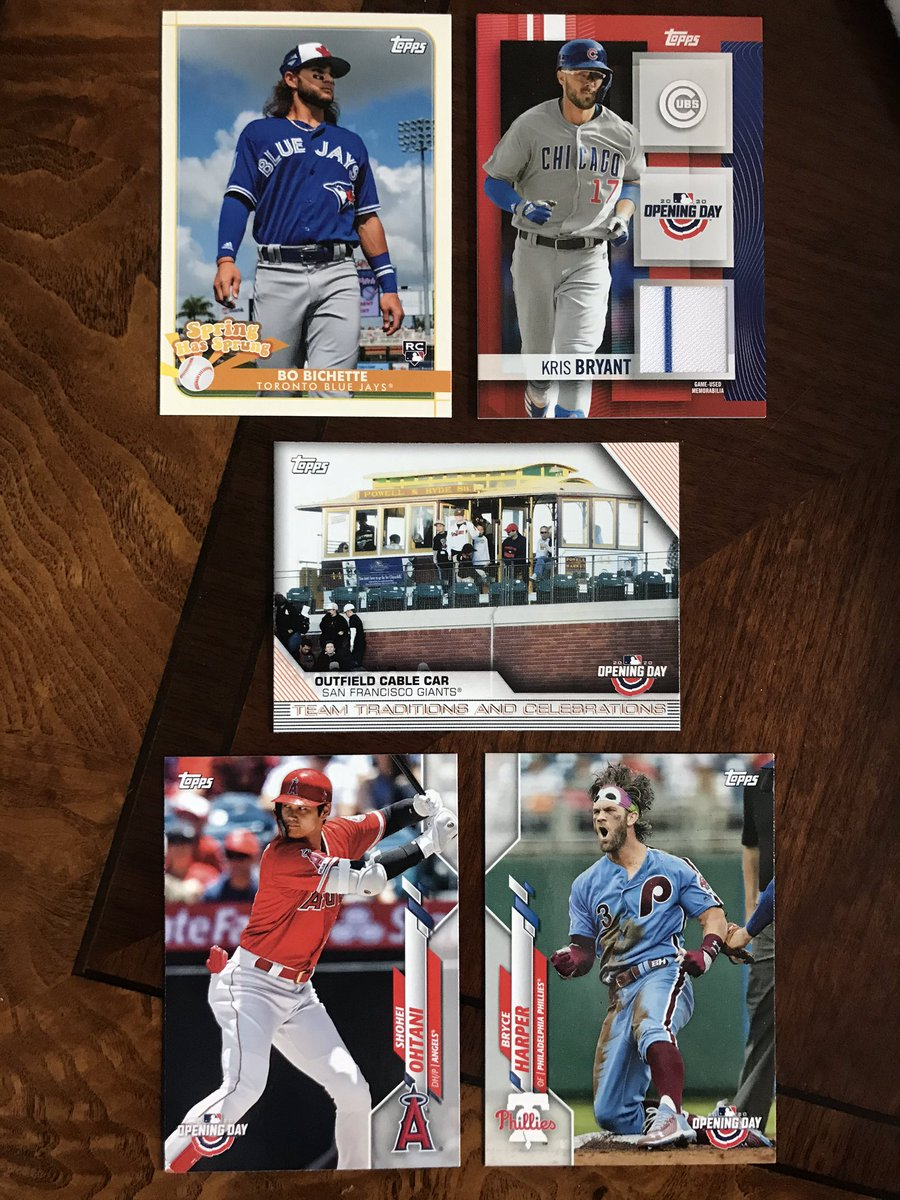 Retweet to enter a random drawing to win all 5 cards below, from 2020 Topps Opening Day.  They include Kris Bryant relic, Bo Bichette insert, and base cards for Shohei Ohtani & Bryce Harper.  I'll pick a random winner once this gets 100 retweets. https://t.co/HiRv6ncsVK