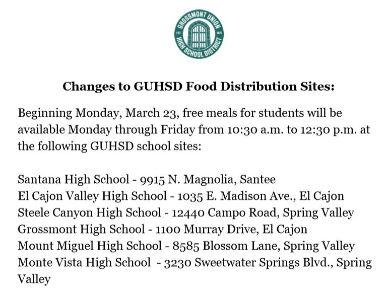 Please note: Updated GUHSD Meal Service Information👇