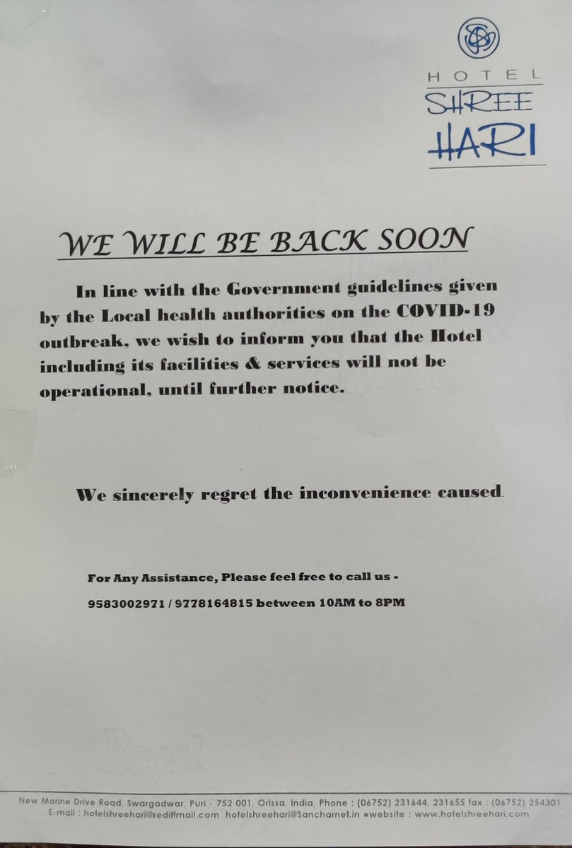 We would like to inform you that due to #coronavirusinindia we have received a notice against our  hotel #shreehari #Puri,to shutdown till further orders, So immediately we took a step to follow the instructions to close down the hotel @skilledinodisha @Puri_Official @CMO_Odisha