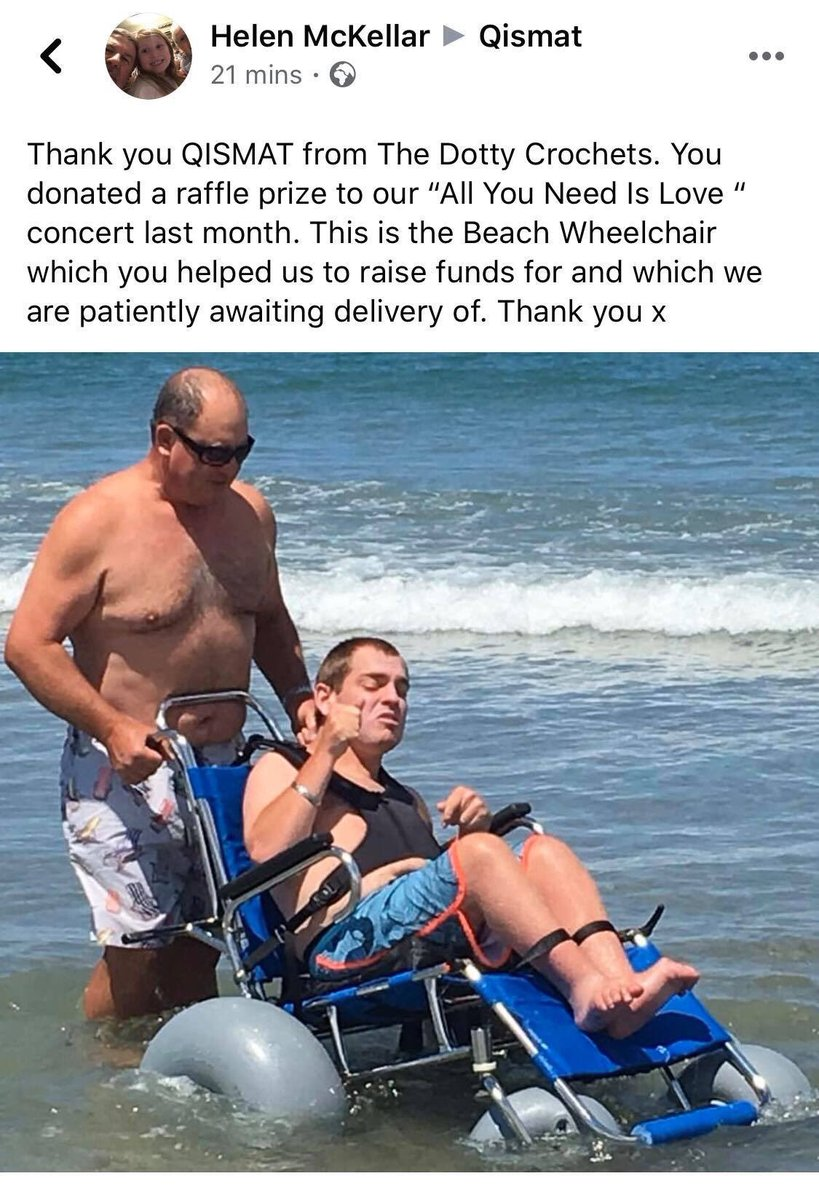 We received this fantastic news today that Dotty Crochets raised enough funds for a Beach Wheelchair. At Qismat we always try our best support local charities and help our community in any we possibly can. #supportlocal #charity #Qismat #givingback #communityspirit https://t.co/I65NjFVVEU