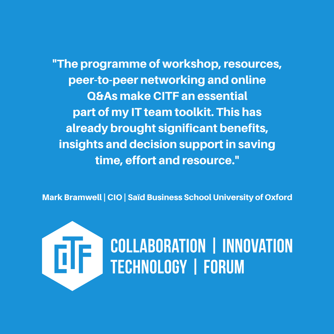 Learn more how CITF has aided the technology team over at Saïd Business School, University of Oxford and why CIO Mark Bramwell views CITF as an essential part of their toolkit. http://bit.ly/2Oystx9  #TechnologyDevelopment pic.twitter.com/4H9EMc0NEf