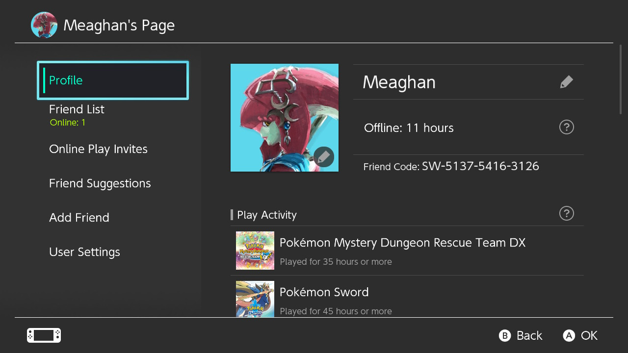 Meaghan's Switch Friend Code