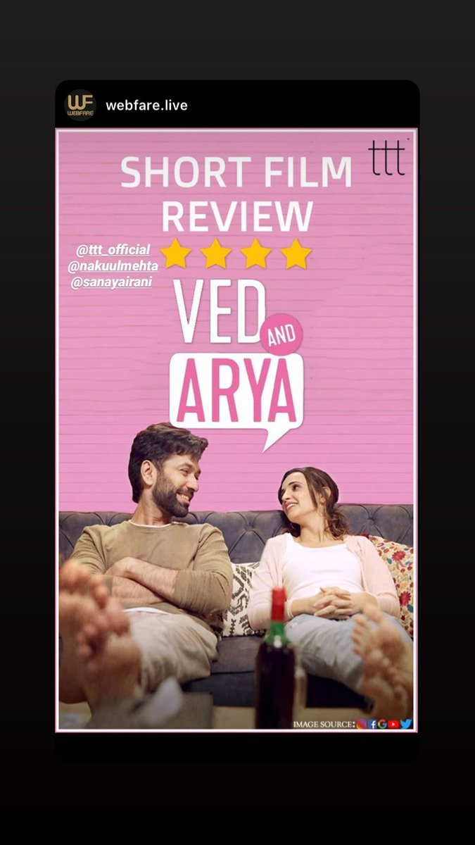 4 star review http://webfare.live Tale of a brother & sister who are breaking the barriers of orthodox cultural norms in their own way. Is @terriblytiny #VedAndArya a short film to watch #SanayaIrani #NakuulMehta  #TerriblyTInyTales #WebfareReviews #ShortFilmReviewpic.twitter.com/AePrlEr6Ph
