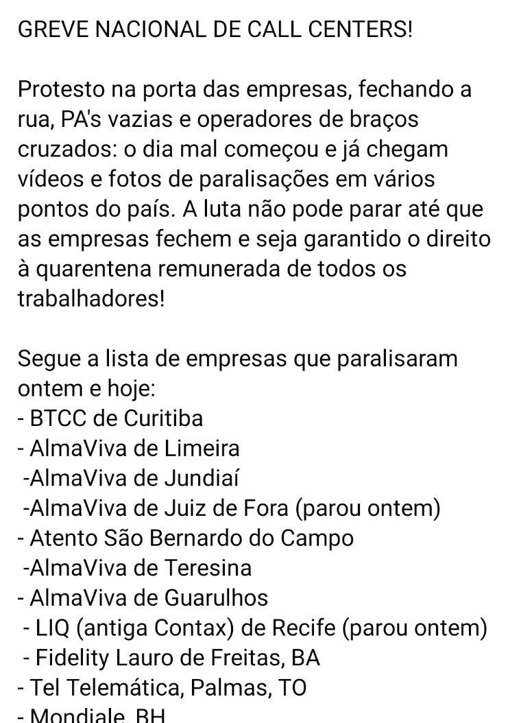 Andreza On Twitter Liq Antiga Contax De Recife Parou Ontem Fidelity Lauro De Freitas Ba Tel Telematica Palmas To Mondiale Bh Atento Em Goiania Tel Barra Funda