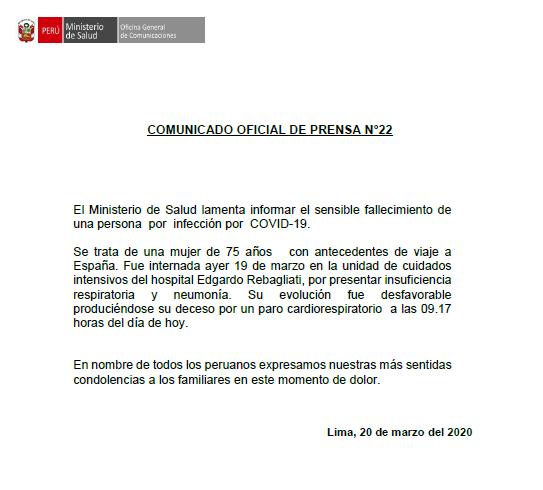COMUNICADO | El #Minsa informa que, a las 9:17 horas de hoy, viernes 20 de marzo, se registró la muerte de una persona con #COVID19 en territorio peruano. Expresamos nuestras más sentidas condolencias a sus familiares.