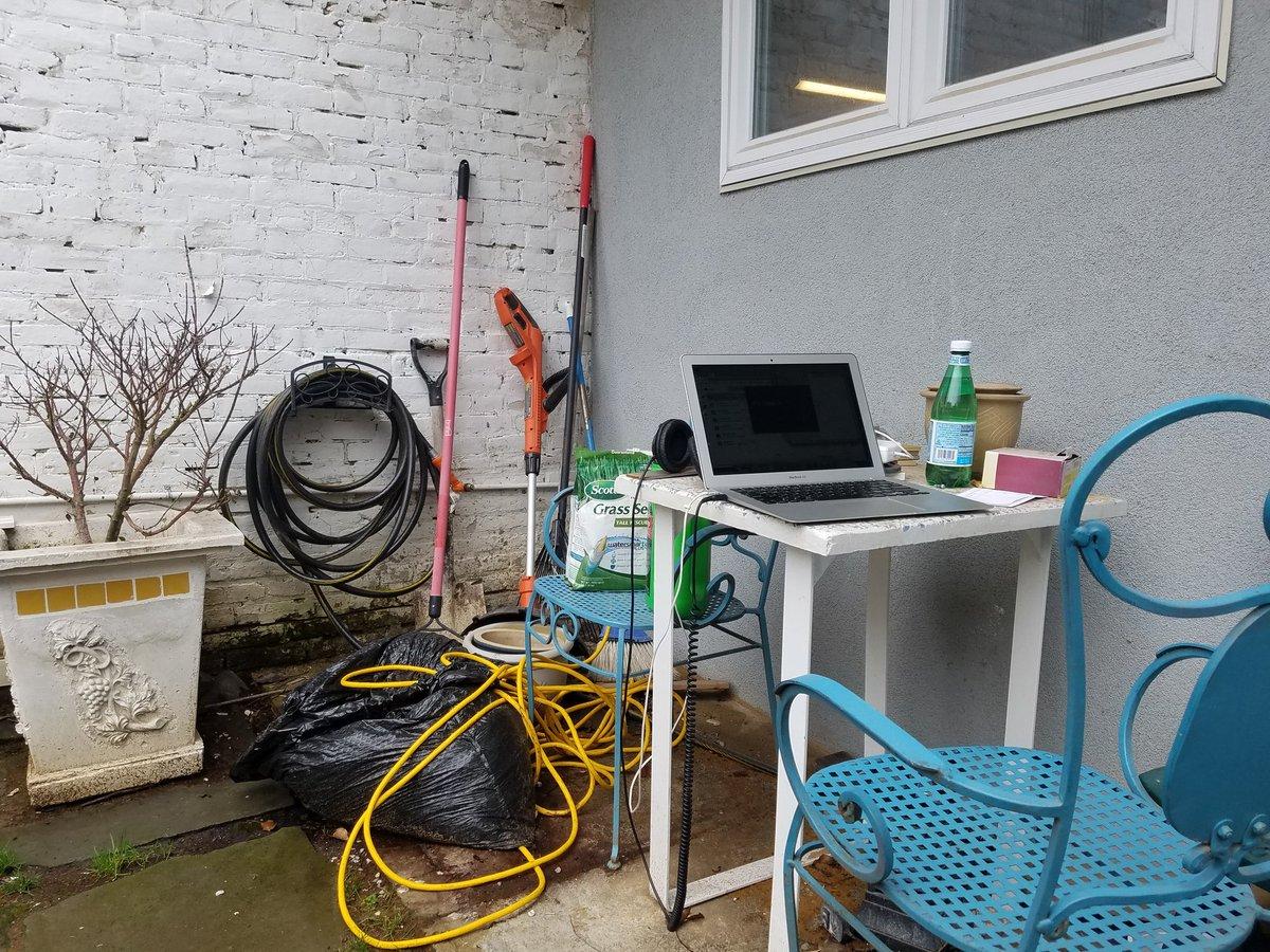 Hey fellow Quarantines! It's super nice outside! Backyard office.