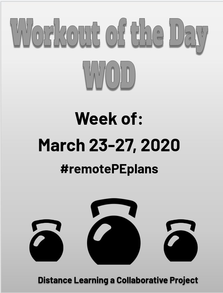 Hey, Twitter!!! Heres our #remotePEplans for the week of March 23rd. Feel free to use, share, and/or modify. Prayers for peace, comfort, & guidance. Love you! -Marilyn ❤️ #FitnessEdu #FitLeaders #DistanceLearningProject #CUE #WeAreCue Link here --> docs.google.com/presentation/d…
