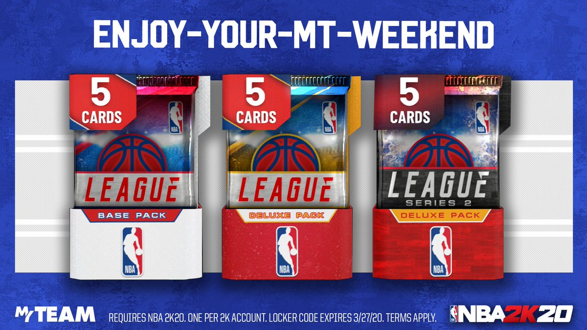 🚨 Guaranteed Pack Locker Code. Use this code for a Deluxe League Series 2, Deluxe League, or Base League Pack. Live for one week #nba2k20 #nba2k20myteam #lockercodes   https://t.co/ZtDT6ARU1J