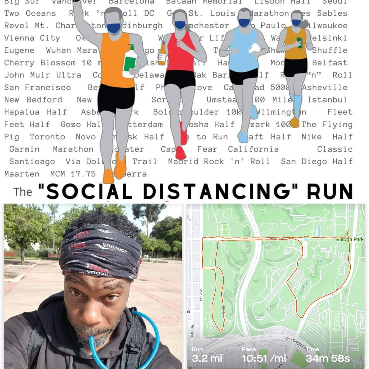"#RunStreak Day 1539 was ""lite"" #5k at the Inaugural #SocialDistancingRun (#VirtualRun) thanks to the #MarathonTrainingAcademy! #LiveWellSD #Covid19 #CantStopWontStop  #RWRunstreak #Runstreak #blkrunners #BlackMenRun #BlackMenRunSD #heartrunnerspic.twitter.com/JVMbxRIhN8"