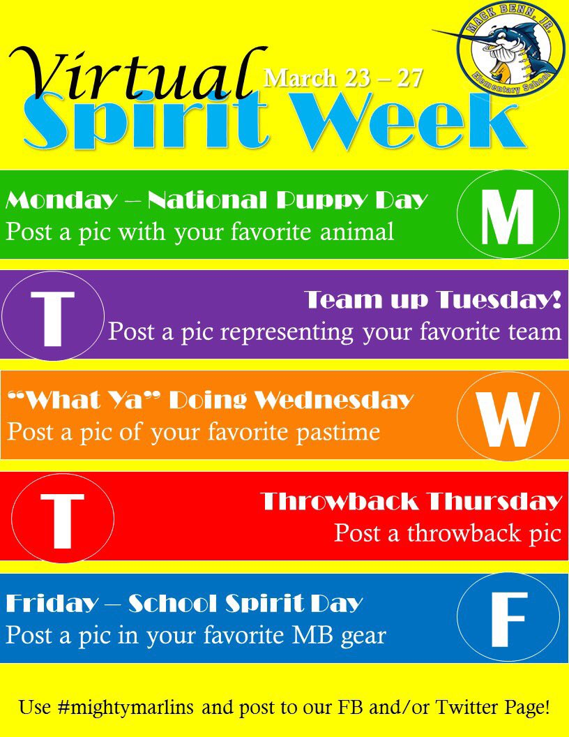 Join us for Virtual Spirit Week!! Use #mightymarlins when you post!